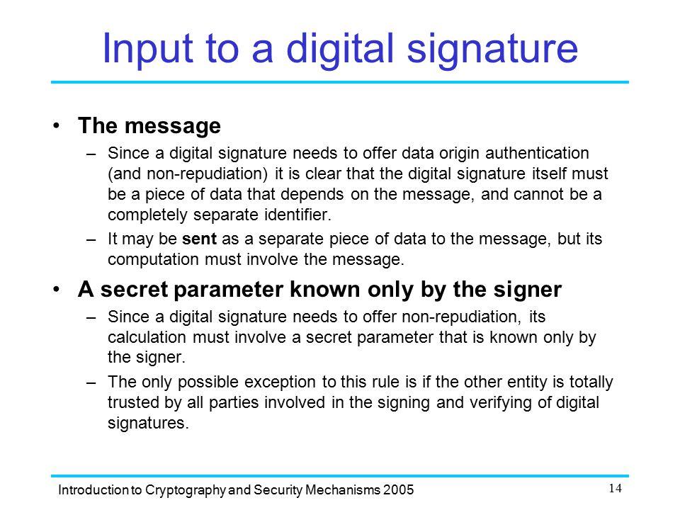 Input to a digital signature