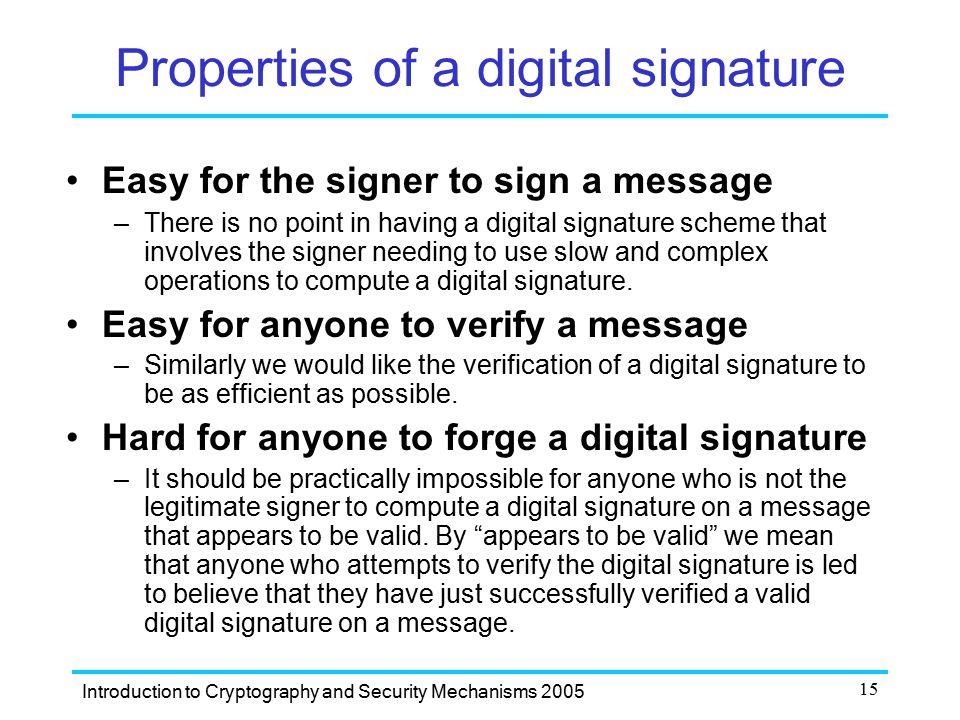 Properties of a digital signature
