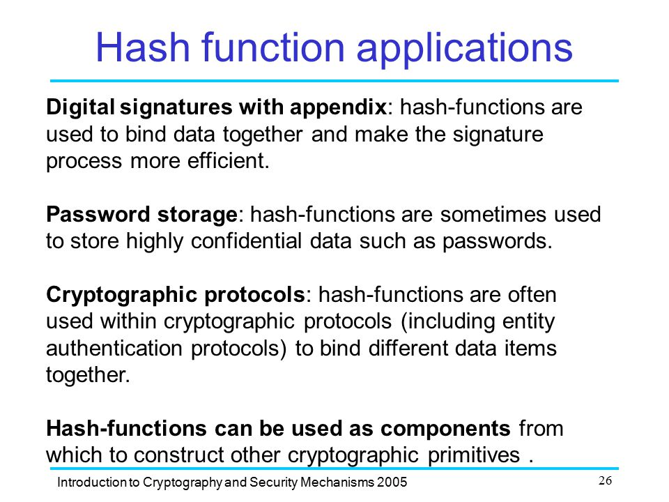 Hash function applications