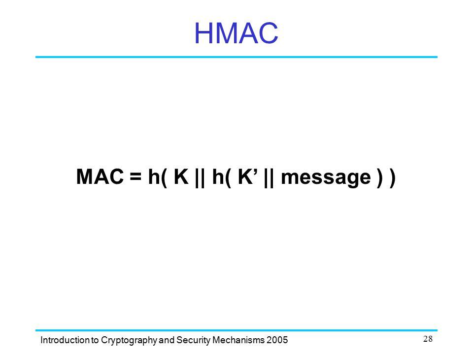 HMAC MAC = h( K || h( K' || message ) )