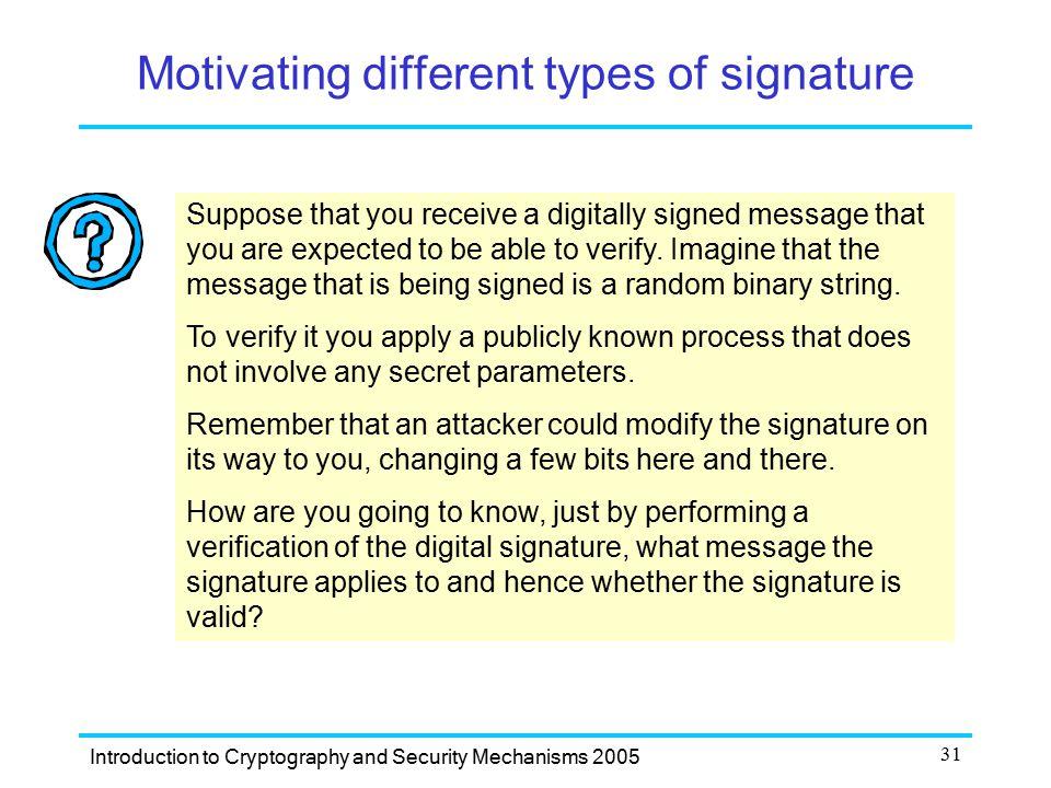 Motivating different types of signature