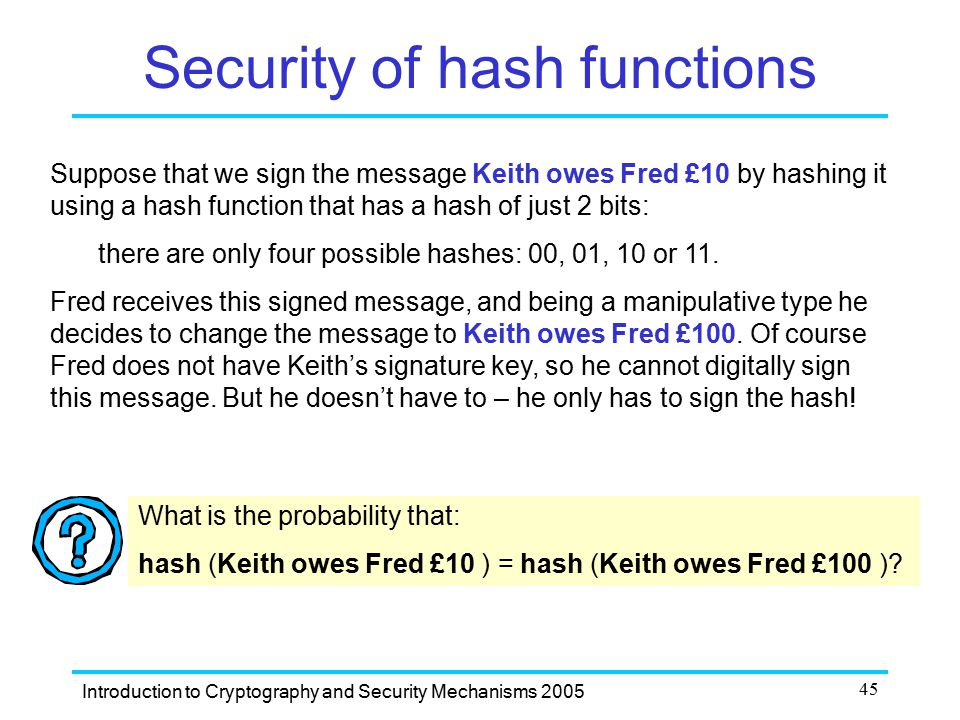 Security of hash functions