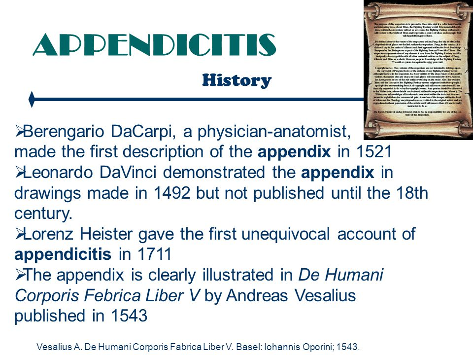 APPENDICITIS History Berengario DaCarpi, a physician-anatomist,