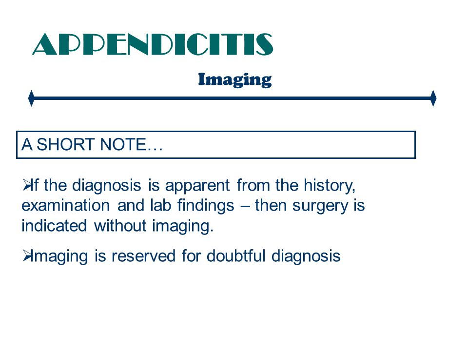 APPENDICITIS Imaging A SHORT NOTE…