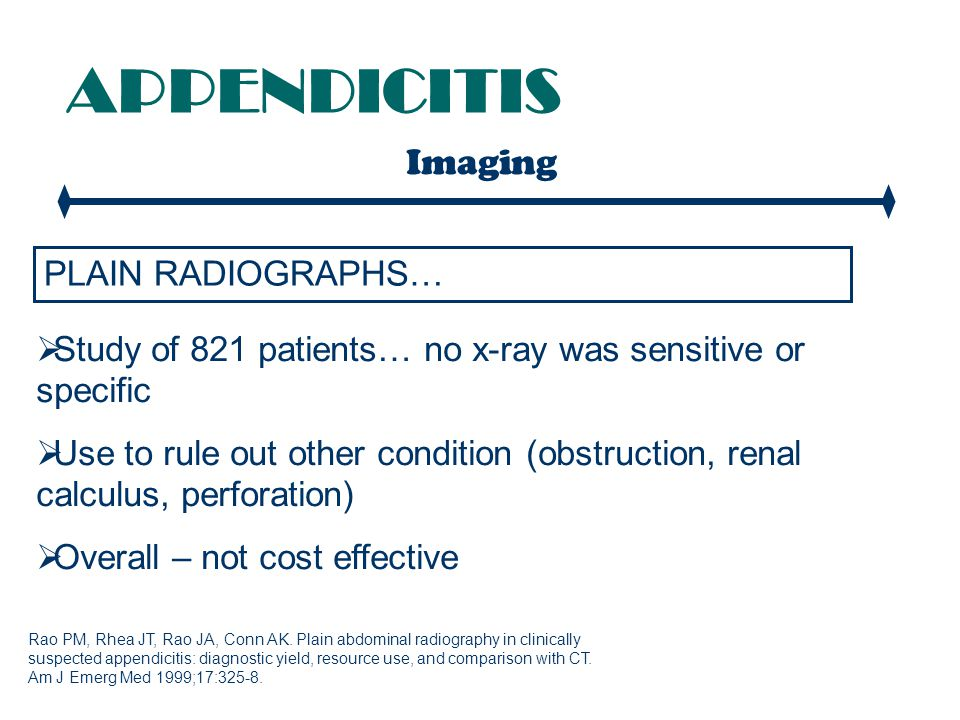 APPENDICITIS Imaging PLAIN RADIOGRAPHS…