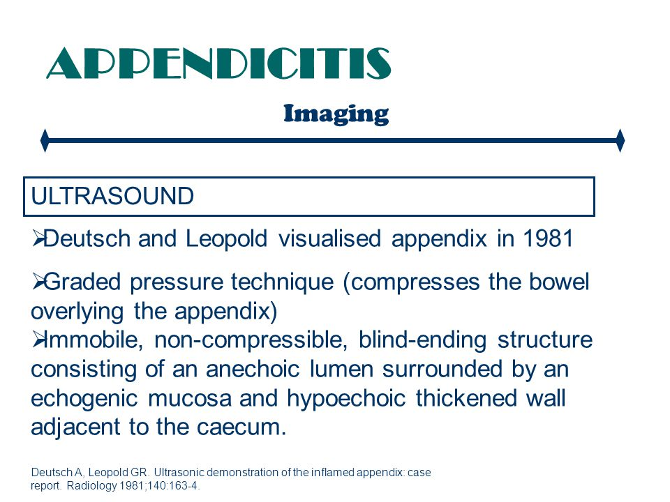 APPENDICITIS Imaging ULTRASOUND