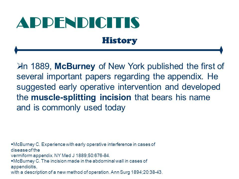 APPENDICITIS History.