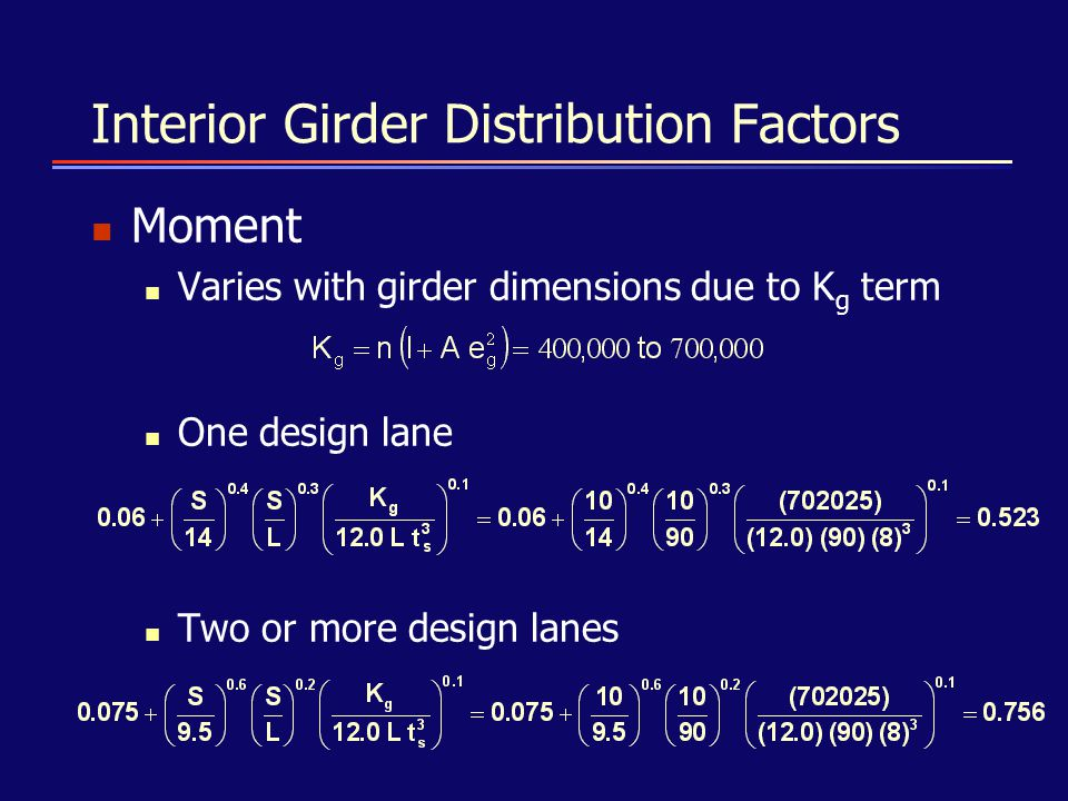 Interior Girder Distribution Factors