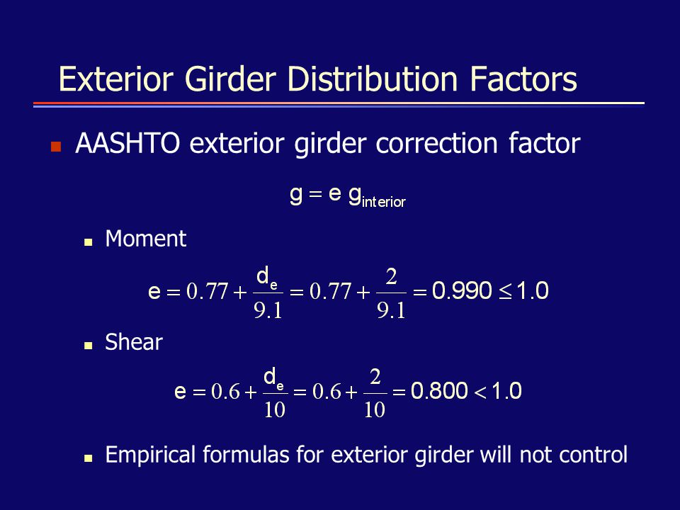 Exterior Girder Distribution Factors