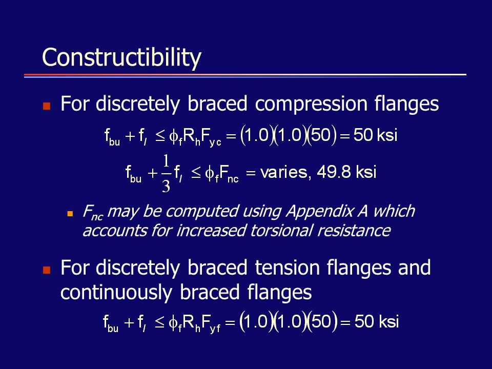 Constructibility For discretely braced compression flanges