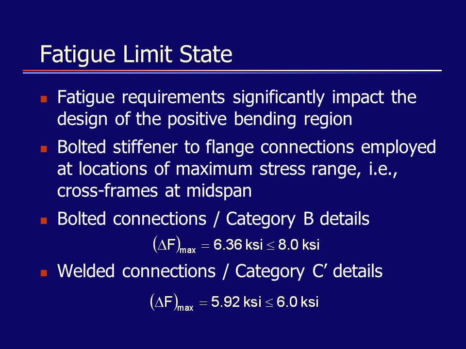 Fatigue Limit State Fatigue requirements significantly impact the design of the positive bending region.