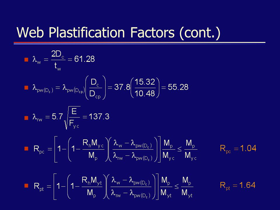 Web Plastification Factors (cont.)