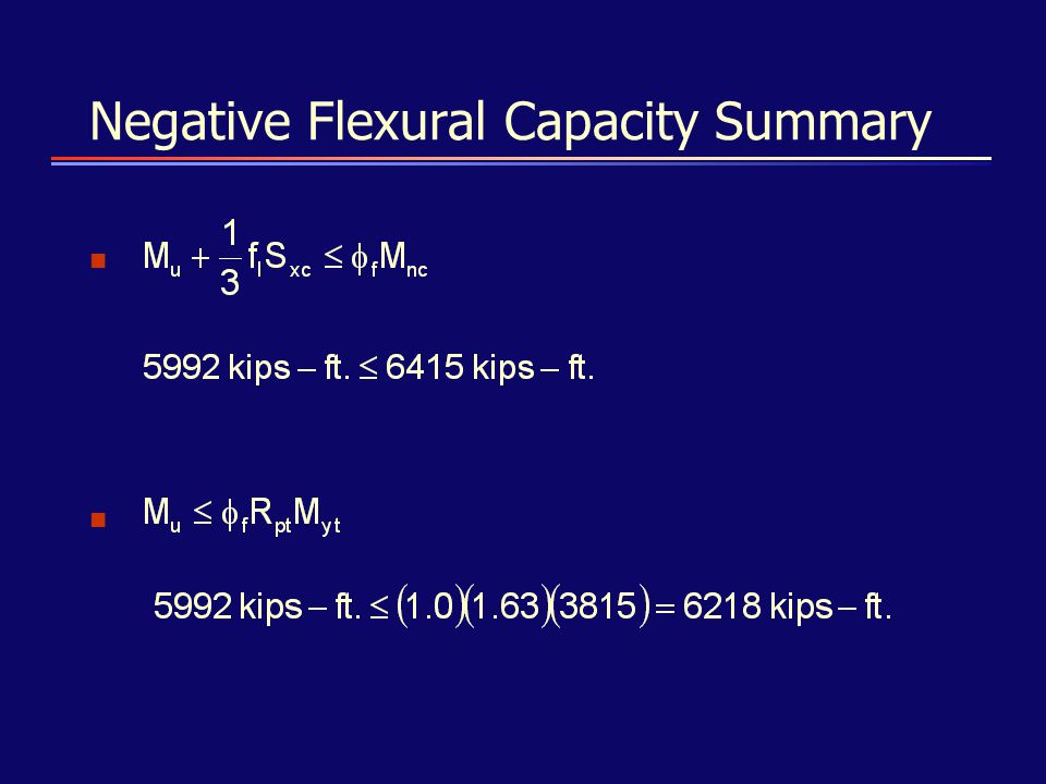 Negative Flexural Capacity Summary