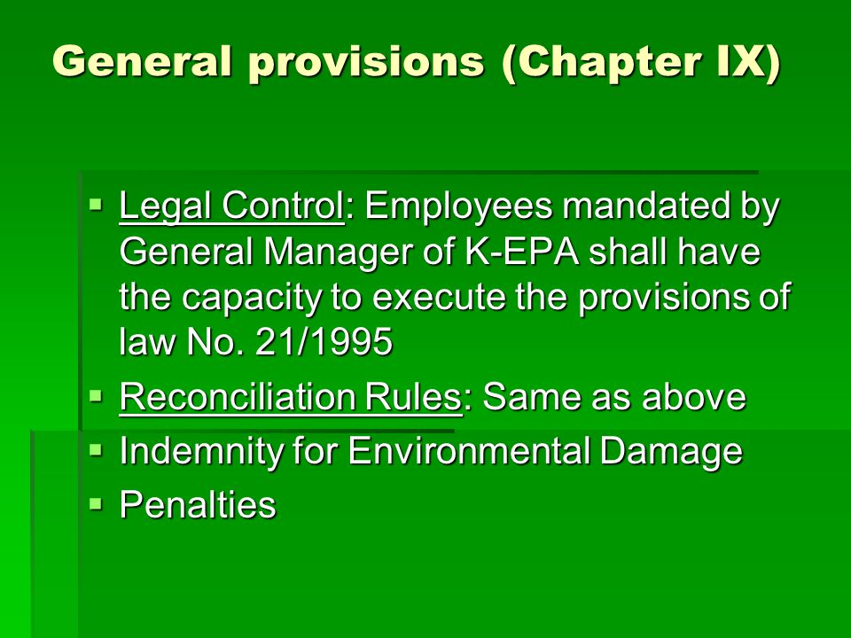 General provisions (Chapter IX)