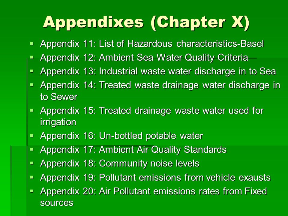 Appendixes (Chapter X)