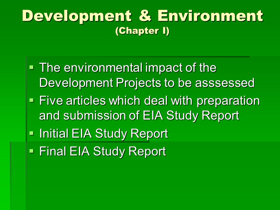Development & Environment (Chapter I)