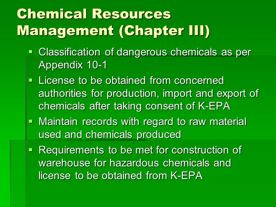 Chemical Resources Management (Chapter III)