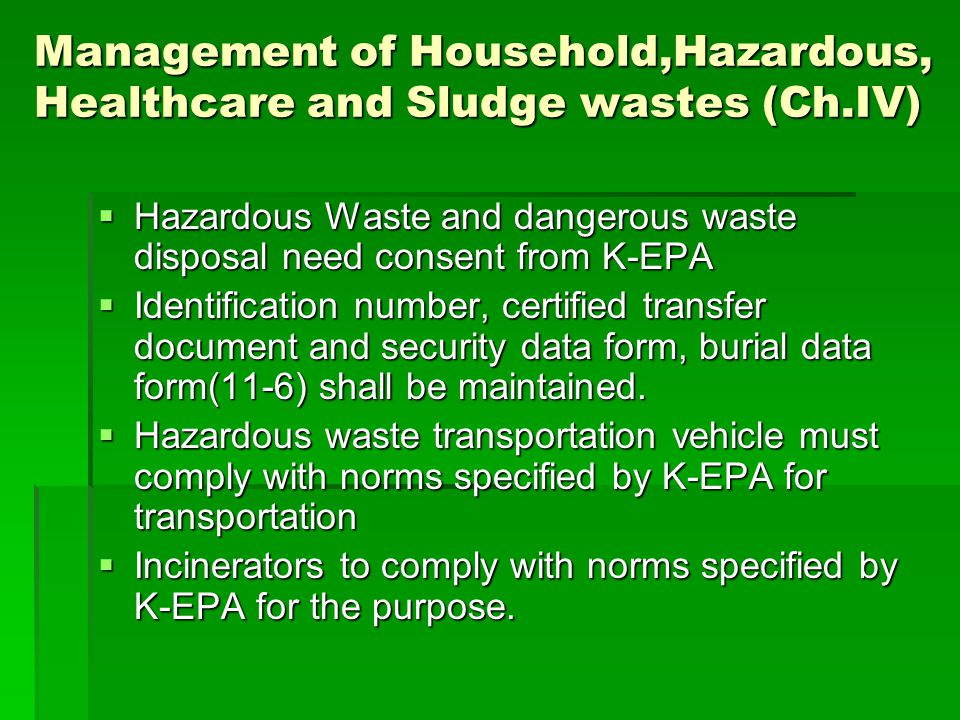 Management of Household,Hazardous, Healthcare and Sludge wastes (Ch