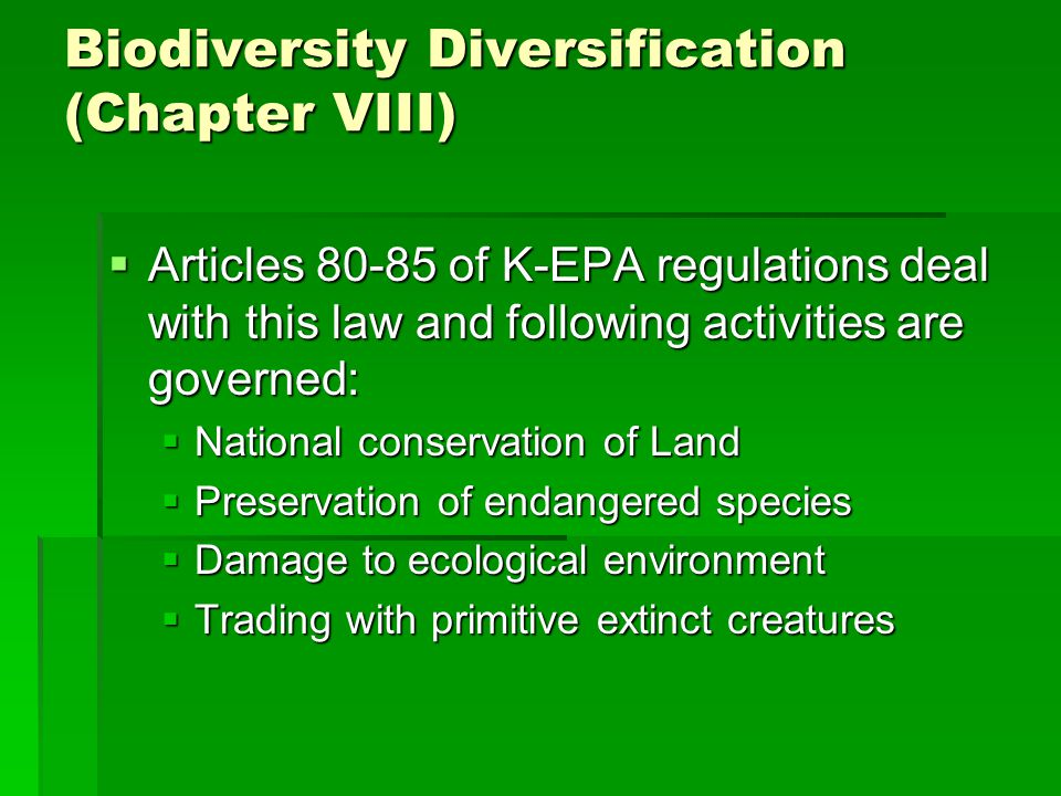 Biodiversity Diversification (Chapter VIII)