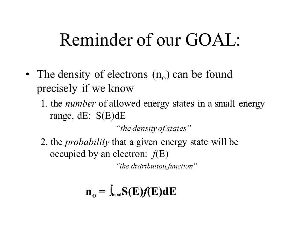 Reminder of our GOAL: The density of electrons (no) can be found precisely if we know.