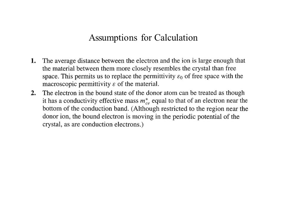 Assumptions for Calculation
