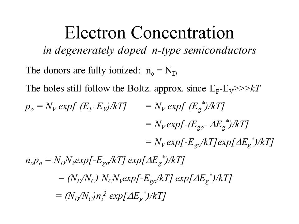 Electron Concentration in degenerately doped n-type semiconductors