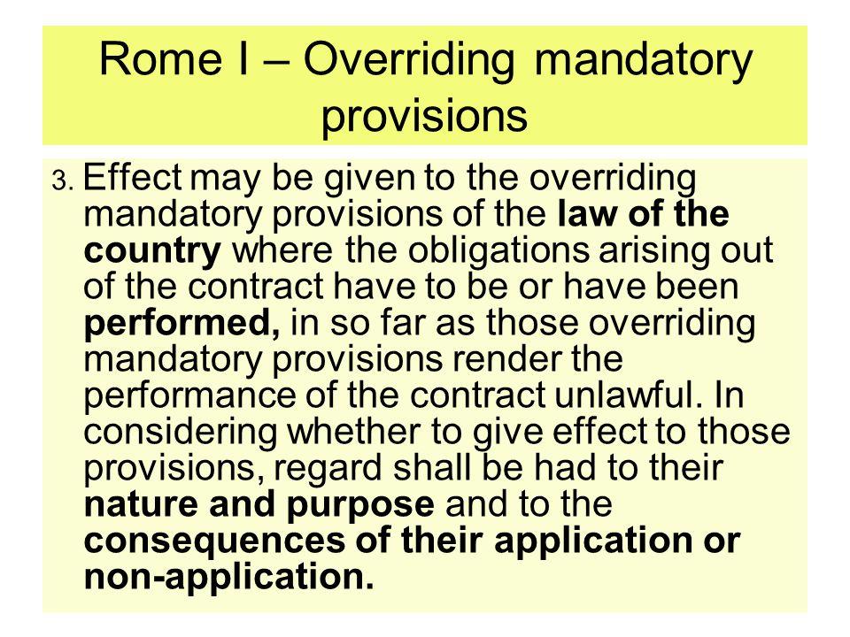 Rome I – Overriding mandatory provisions