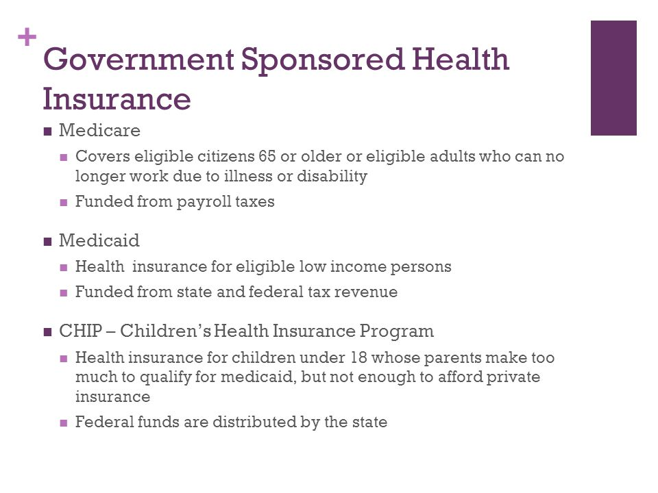 Government Sponsored Health Insurance