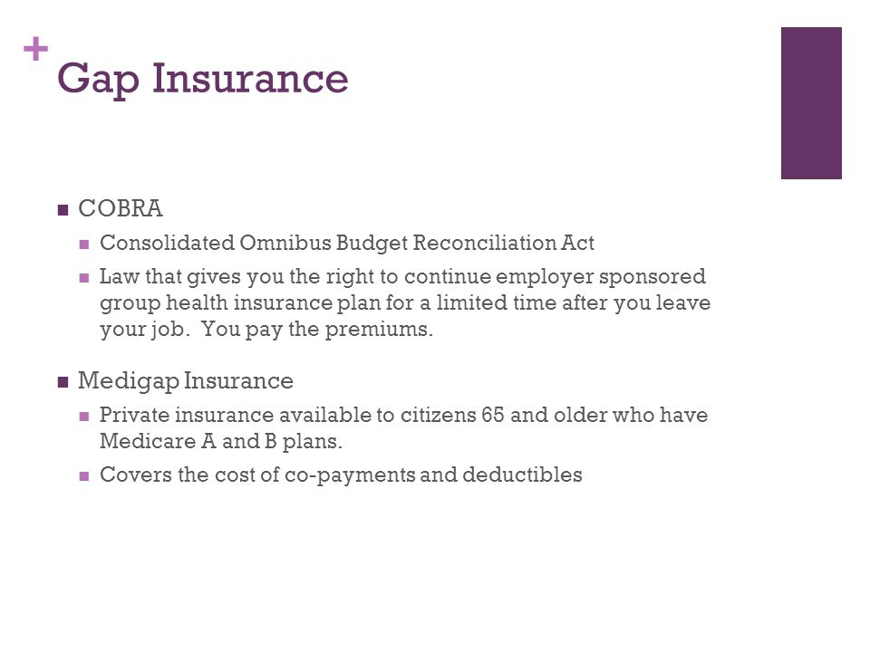 Gap Insurance COBRA Medigap Insurance