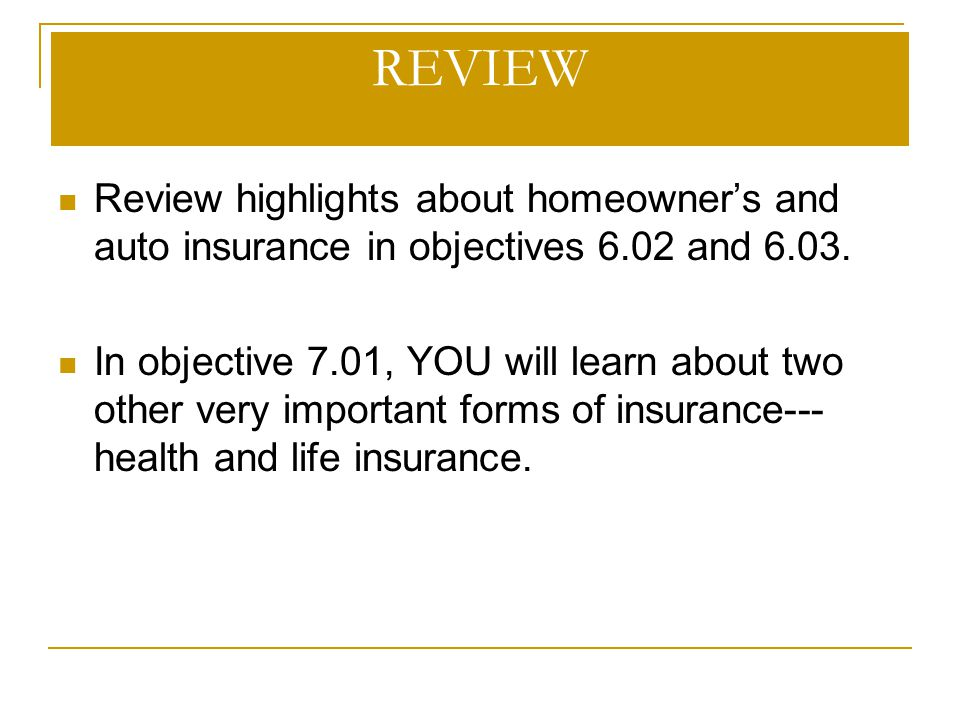 REVIEW Review highlights about homeowner's and auto insurance in objectives 6.02 and 6.03.