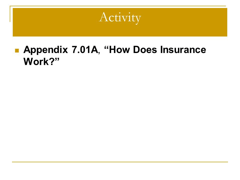Activity Appendix 7.01A, How Does Insurance Work