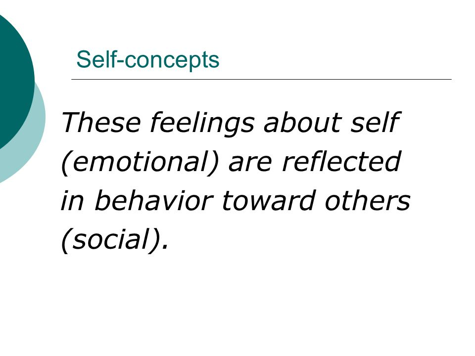 These feelings about self (emotional) are reflected