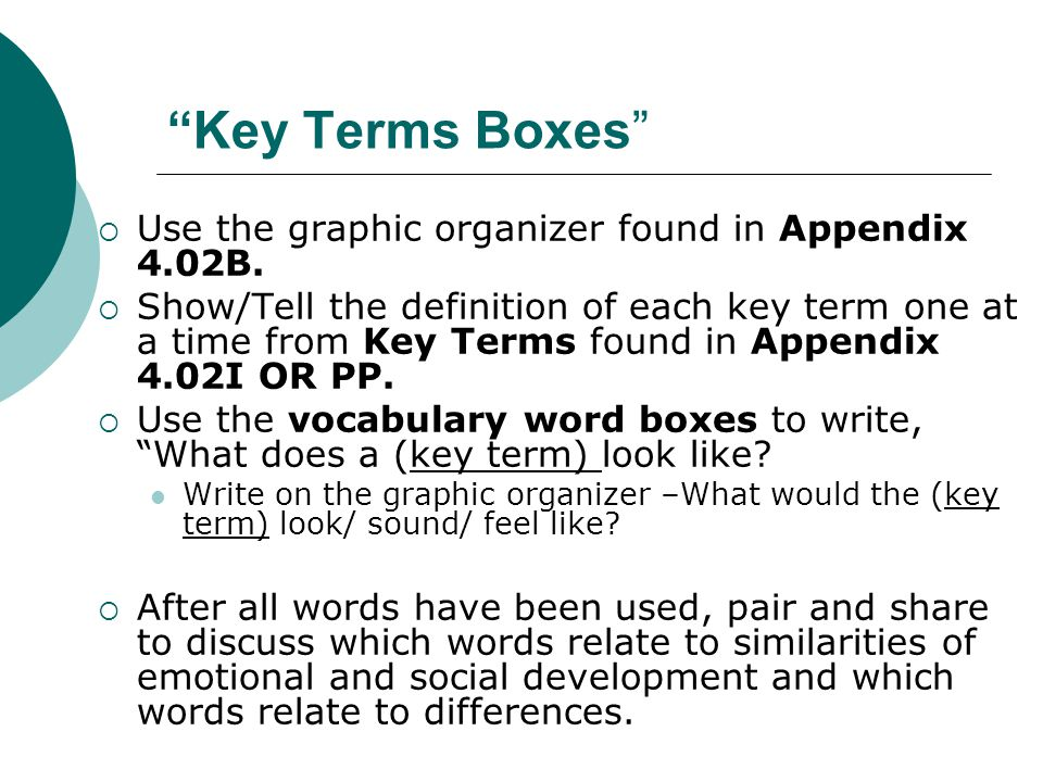 Key Terms Boxes Use the graphic organizer found in Appendix 4.02B.