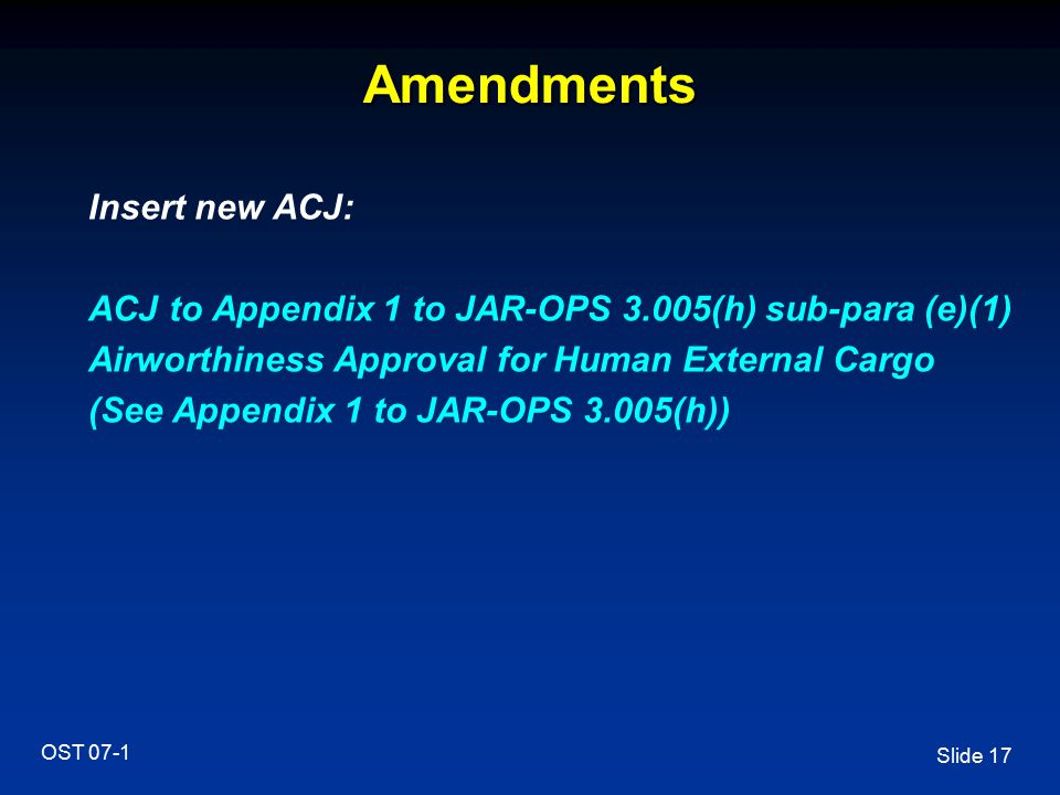 Amendments Insert new ACJ: