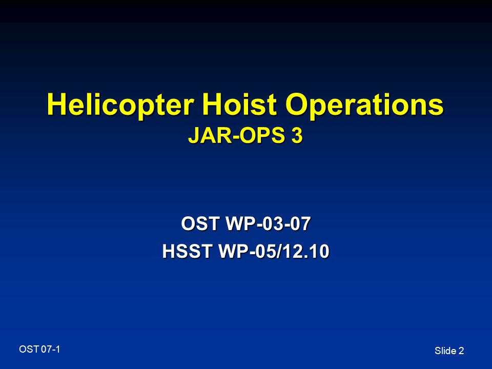 Helicopter Hoist Operations JAR-OPS 3