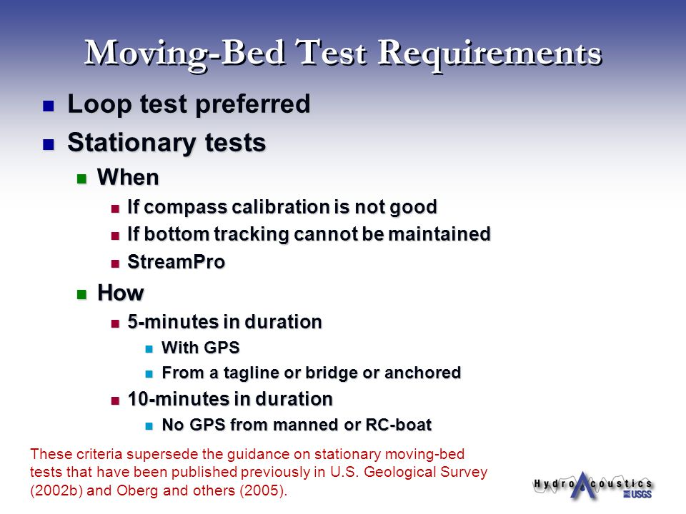 Moving-Bed Test Requirements
