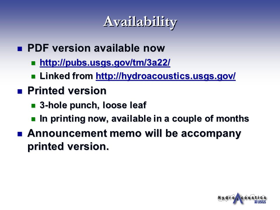 Availability PDF version available now Printed version