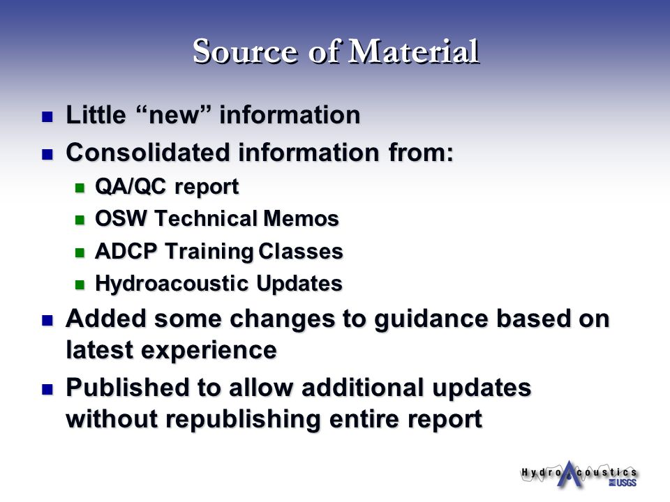 Source of Material Little new information