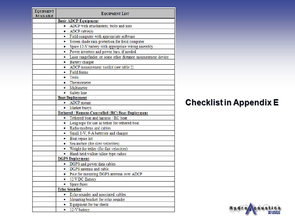 Checklist in Appendix E