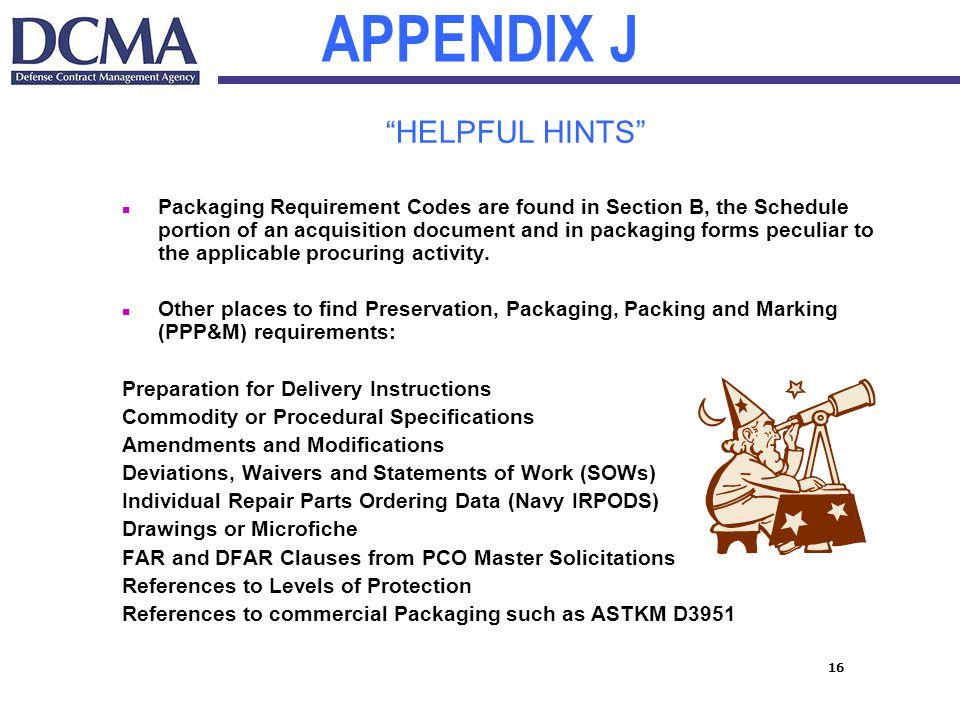 APPENDIX J HELPFUL HINTS