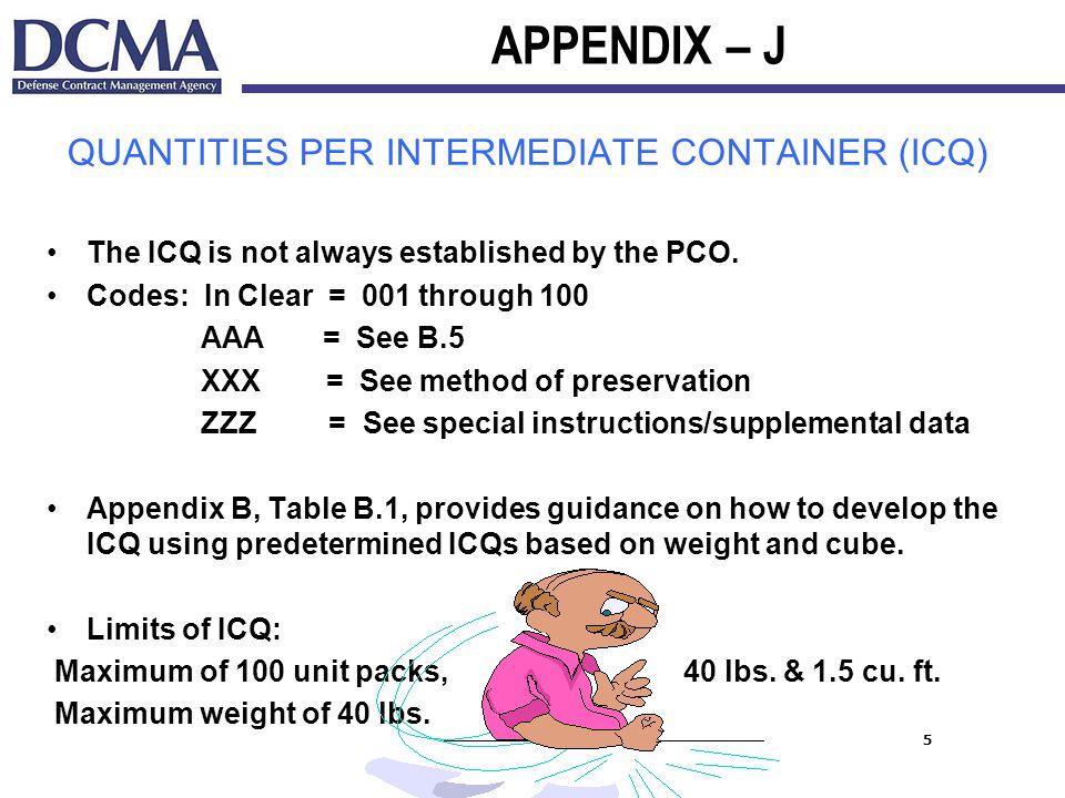 QUANTITIES PER INTERMEDIATE CONTAINER (ICQ)