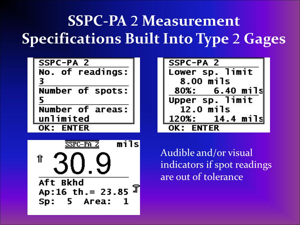 SSPC-PA 2 Measurement Specifications Built Into Type 2 Gages