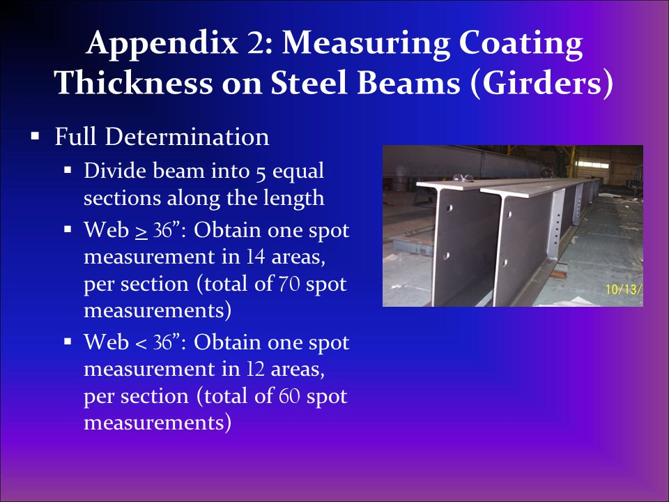 Appendix 2: Measuring Coating Thickness on Steel Beams (Girders)