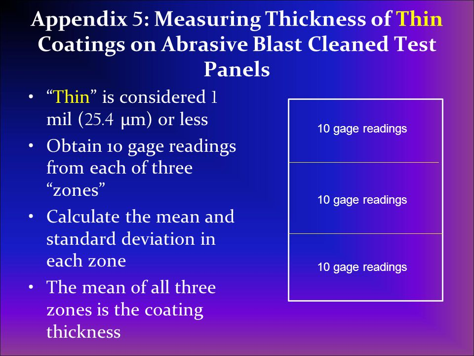 Appendix 5: Measuring Thickness of Thin Coatings on Abrasive Blast Cleaned Test Panels
