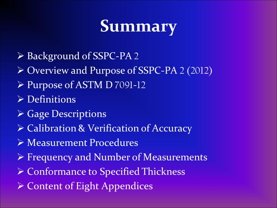 Summary Background of SSPC-PA 2