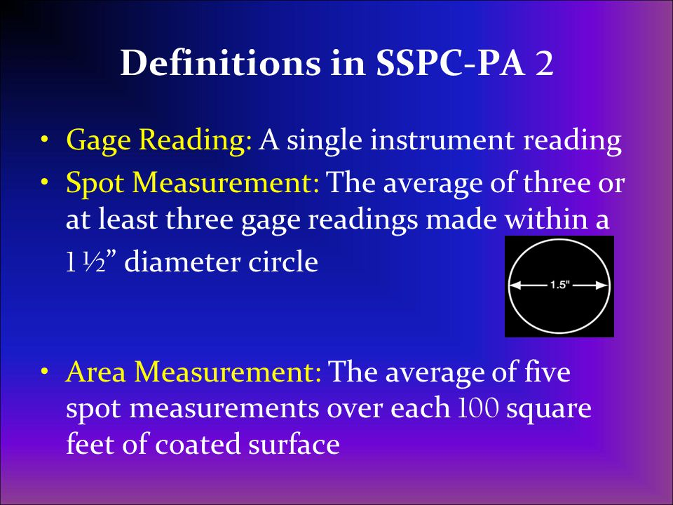 Definitions in SSPC-PA 2
