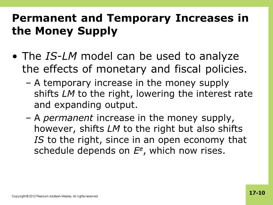 Permanent and Temporary Increases in the Money Supply