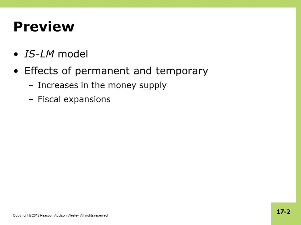 Preview IS-LM model Effects of permanent and temporary