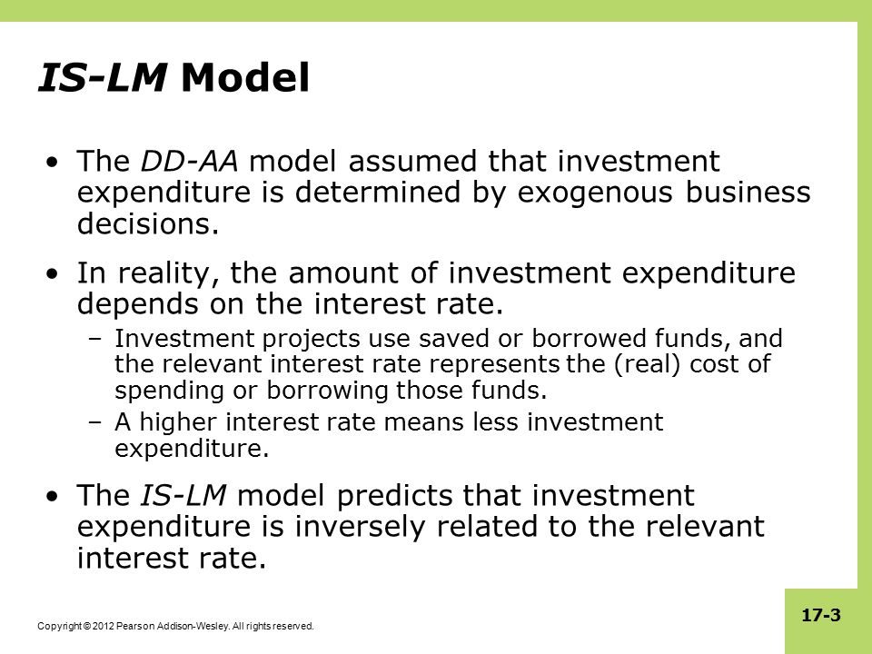 IS-LM Model The DD-AA model assumed that investment expenditure is determined by exogenous business decisions.