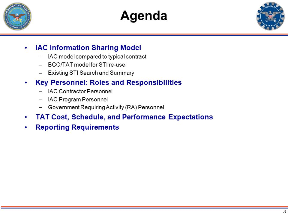 Agenda IAC Information Sharing Model